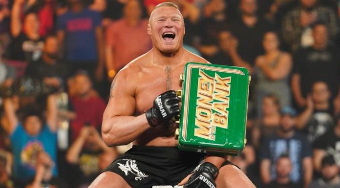 Brock Lesnar with the Money In The Bank. Photo Credit: WWE.com