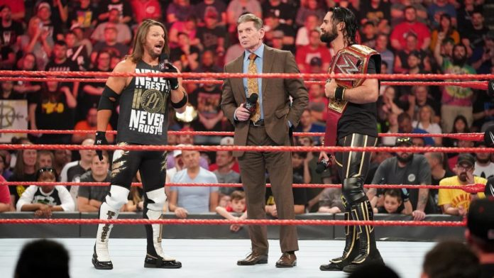 Seth Rollins and AJ Styles on Raw after the Wild Card Rule was announced. Photo Credit: WWE.com